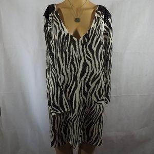 Womens H&M Tunic Sweater Dress - Zebra Print - MED